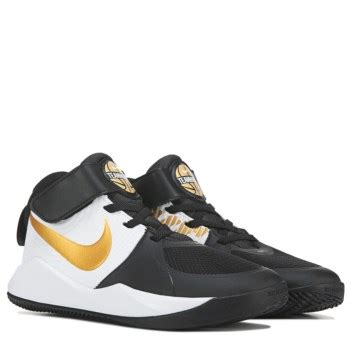 nike team hustle  basketball shoe preschool blackwhitegold