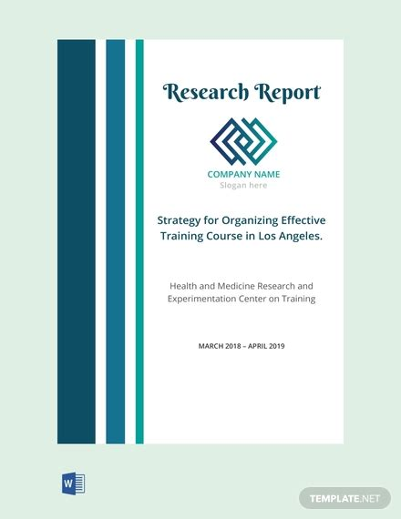 research report cover page template word