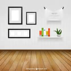 home interior vector interior room with wall frames and shelves vector free