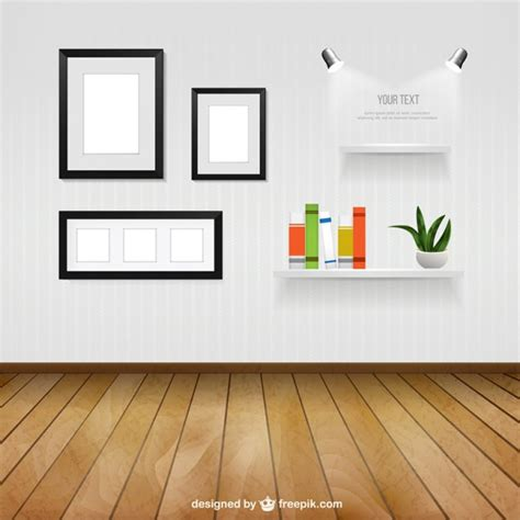 home interior picture frames interior room with wall frames and shelves vector free