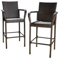 Red Patio Furniture Set by Set Of 2 Stewart Outdoor Brown Wicker Barstool