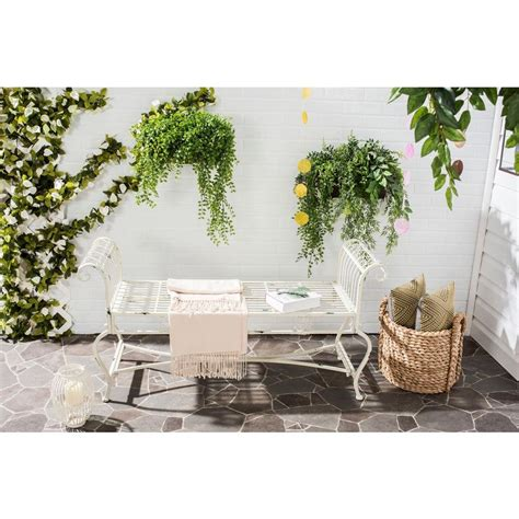 safavieh home safavieh brielle outdoor iron patio bench in antique white