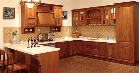 american style traditional solid wood kitchen cabinet