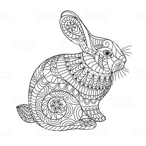 Kleurplaten Schattige Konijntjes by Easter Rabbit Coloring Page For And Children Stock