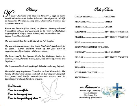 obituary program template 6 obituary program template authorizationletters org