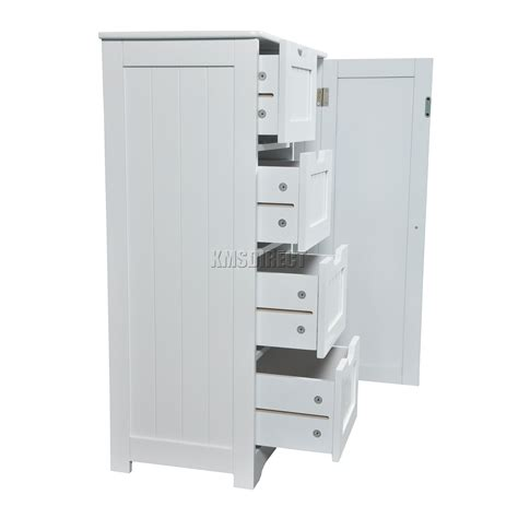 White Cabinet With Drawers by Foxhunter White Wooden 4 Drawer Bathroom Storage Cupboard