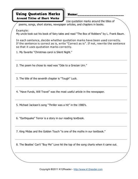 quotation marks worksheet 4th grade worksheets for all