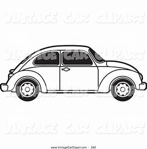 Clipart of a Coloring Page of a Vintage Black and White Vw ...