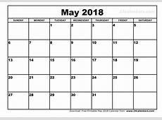 May 2018 Calendar Excel printable 2017 calendars