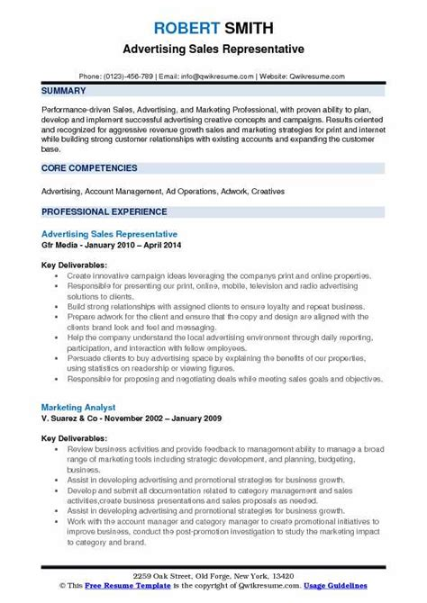 Resume Build Relationships by Advertising Sales Representative Resume Sles Qwikresume