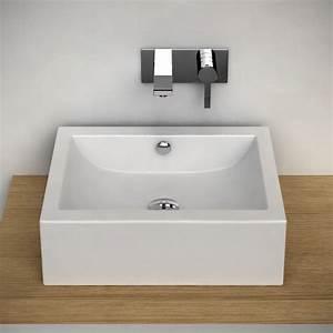 Vasque À Poser Rectangulaire : vasque poser rectangulaire 50x45 cm c ramique pure ~ Melissatoandfro.com Idées de Décoration