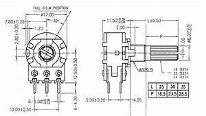 10k Ohm Dual Logarithmic Rotary Potentiometer Technical Data
