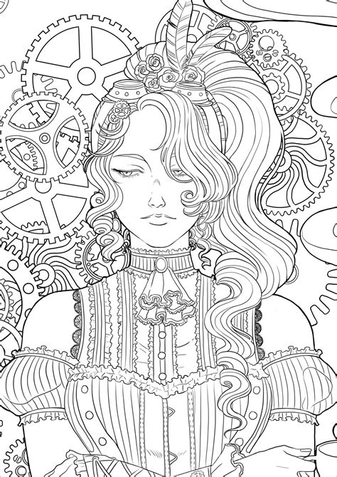 Steampunk woman with coffee Version 3 - Vintage Adult