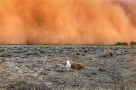 staggering images show apocalyptic dust  hail storms