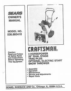 Sears Snow Blower 536 885410 User Guide