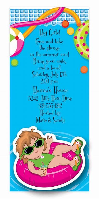 Pool Party Invitations Invitation Birthday Teen Water