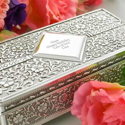 Modification Jewelry Uk by Silver Antique Personalised Jewellery Box With Free Gift Box