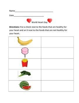 world heart day packet healthy heart comprehension