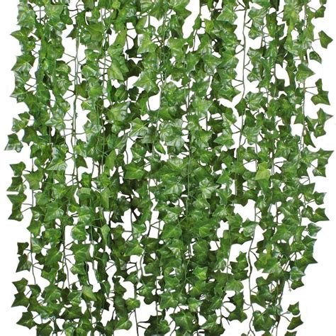1pc artificial fake hanging vine plant leaves garland home decor artificial green rattan christmas home garden wall decoration. Coolmade 84FT 12 Strands Artificial Flowers Silk Fake Ivy ...