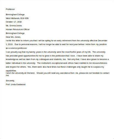 Sample Letter of Retirement Early
