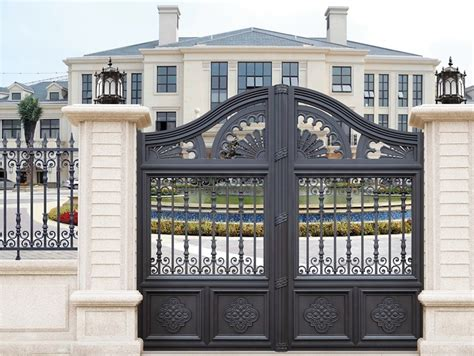 beautiful entrance gate designs black color paint finish
