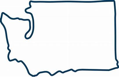 Washington Outline State Clipart Clip Silhouette Blue2