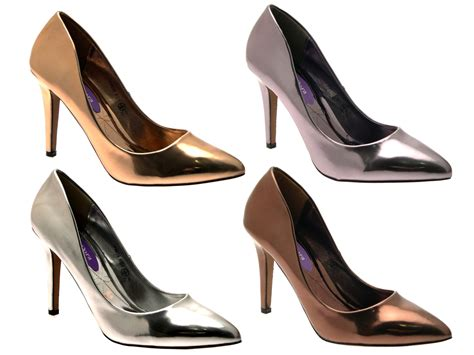 Pump Shoes : Womens Metallic Pointed Toe Court Stiletto High Heels