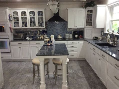 blue  white kitchen cambria quartz countertop parys
