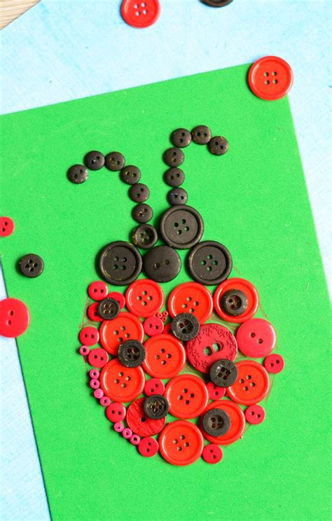 ladybug button art craft easy peasy  fun