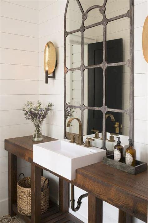 rustic washstand  apron sink cottage bathroom