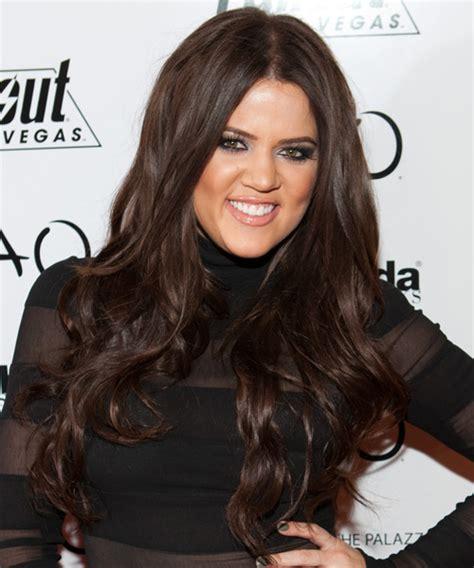 Khloe Kardashian Long Wavy Chocolate Hairstyle