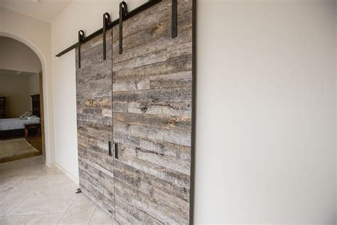 Tobacco Barn Grey Double Sliding Doors   Porter Barn Wood