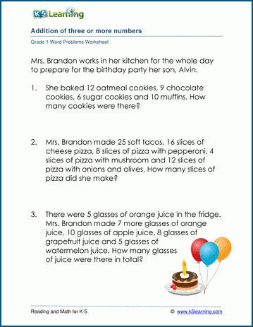 word problem worksheets  adding  numbers