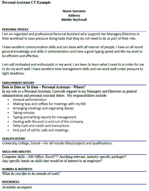 Give Me An Exle Of A Resume by Personal Assistant Cv Exle Icover Org Uk