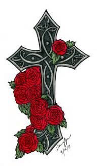 Gothic Cross and Rose Tattoos