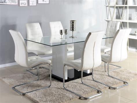 vente unique canape table à manger marisa 6 couverts verre et mdf laqué blanc
