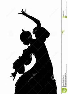 Silhouette Of Spanish Woman Flamenco Dancer Dancing ...