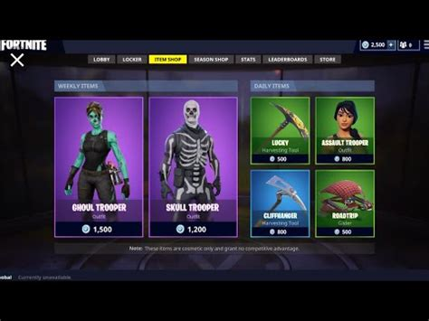 fortnites  items shop  season  skullghoul