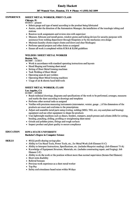 Sheet Metal Worker Resume sheet metal worker resume bijeefopijburg nl