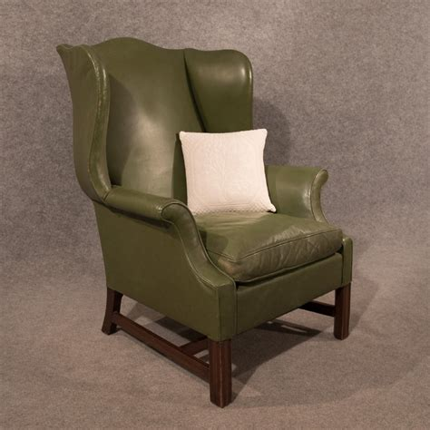 Antique Leather Armchair Large Wing Gentleman's Chair