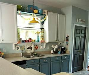 Hometalk Boring to Blue Kitchen Makeover