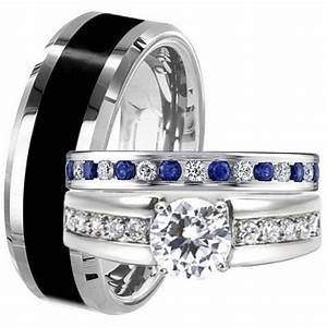 black tungsten stainless steel his hers blue sapphire cz With black wedding ring sets his and hers