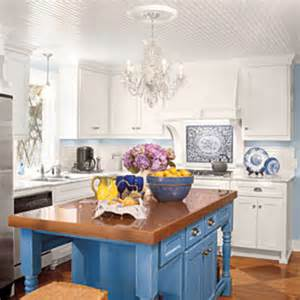 blue kitchen island cottage white kitchens all time favorite white kitchens southern living