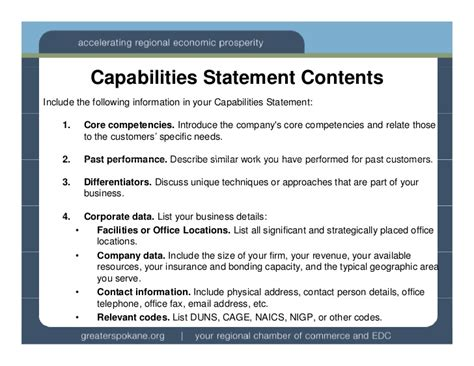 resume capability statement exles capabilities statements wa ptac