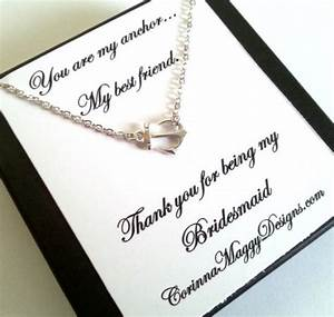 bridesmaid gift sideways anchor necklace wedding gift With wedding gift for best friend