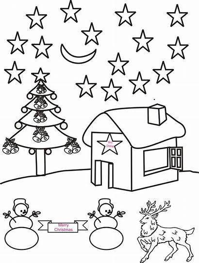 Scenery Coloring Pages Christmas Drawing Night Colour