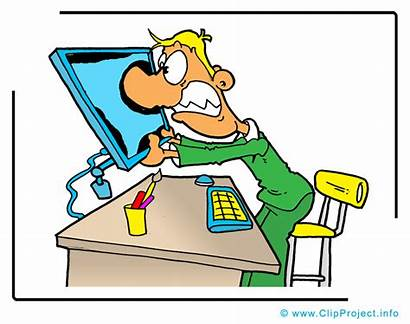 Clip Office Funny Clipart Manager Business Computer