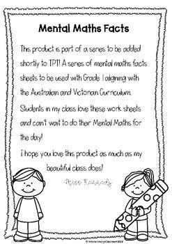 mental maths worksheet grade    kennedys classroom