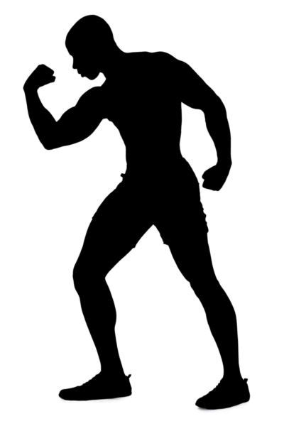 silhouette   man flexing muscles stock photo
