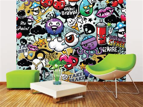 the kitchen collection uk funky graffiti doodle monsters wall mural